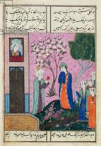 Persian School - 'The king bids farewell', poem from the Shiraz region, c.1470-90