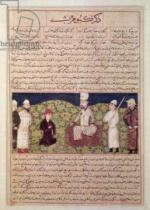 Persian School - King surrounded by courtiers, illustration from a page of the 'Universal History'  of Hafiz-i-Abru