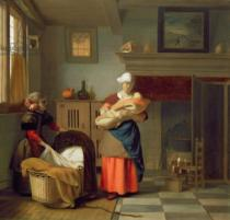 Pieter de Hooch - Nursemaid with baby in an interior and a young girl preparing the cradle