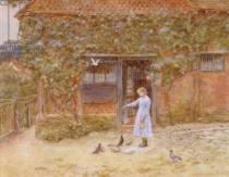 Helen Allingham - A cottage at Shere, c.1875