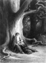 Gustave Dore - The Enchanter Merlin and the Fairy Vivien in the forest of Broceliande, from 'Vivien', poem by Alfred Tennyson (1809-92), publis