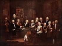 William Hogarth - A committee of the House of Commons at the Fleet Prison, 1729, illustration from 'Hutchinson's Story of the British Nation', c.1