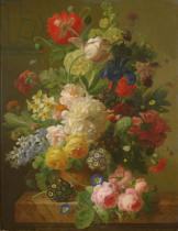 Jan Frans van Dael - Flowers in a vase on a marble console table, 1816