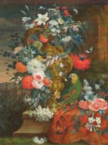 Jean Picart - Bouquet of flowers and a parrot