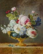Anne Vallayer-Coster - Flowers in a blue vase, 1782