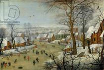 Pieter Brueghel der Jüngere - Winter Landscape with Skaters and a Bird Trap