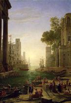 Claude Lorrain - Embarkation of St. Paula Romana at Ostia, 1637-39