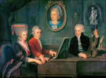 Austrian School - Portrait of Leopold Mozart (1719-87) and his Children, Wolfgang Amadeus (1756-91) and Maria Anna (1751-1829) 1780-81 ts; playing