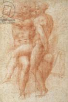 Michelangelo Buonarroti - Nude female seated on the knees of a seated male nude: Adam and Eve