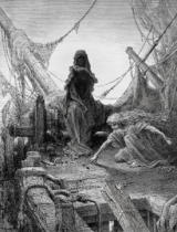 Gustave Dore - The 'Night-mare Life-in-Death' plays dice with Death for the souls of the crew, scene from 'The Rime of the Ancient Mariner' by