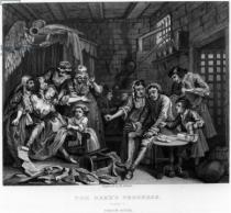 William Hogarth - The Rake in Prison, plate VII, from 'A Rake's Progress'
