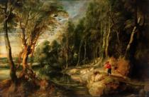 Peter Paul Rubens - A Shepherd with his Flock in a Woody landscape, c.1615-22