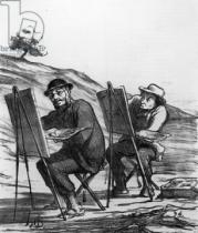 Honore Daumier - Cartoon lampooning landscape painters, from 'Charivari' magazine, 12 May, 1865