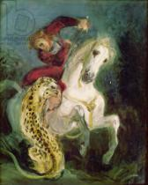 Eugène Delacroix - Jaguar Attacking a Horseman, c.1855