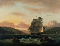 Thomas Luny - A Brigantine in Full Sail in Dartmouth Harbour
