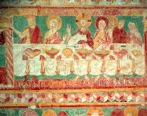 French School - The Marriage at Cana, from the South wall of the Choir, 12th century