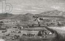 German School - A settlement in Kouihara, West Africa, illustration from 'The World in the Hands', published 1878