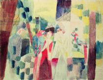 August Macke - Two Women and a Man with Parrots, 20th century