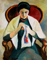 August Macke - Woman Sewing: woman of the artist