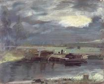 John Constable - Barges on the Stour with Dedham Church in the Distance, 1811