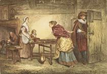 Marcus Stone - Royalists seeking refuge in the house of a Puritan, engraved by J.D. Cooper