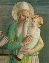 Fra Angelico - Simeon with the Christ Child, detail from The Presentation in the Temple, 1442