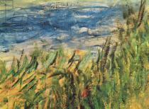 Pierre Auguste Renoir - Detail of The Banks of the Seine at Champrosay, detail of the water and grass at the centre of the painting, 1876
