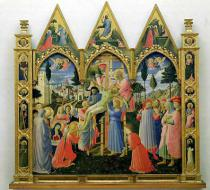 Fra Angelico - Santa Trinita Altarpiece, frame and pinnacles by Lorenzo Monaco  (c.1370-1425) completed c.1434