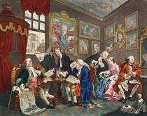 William Hogarth - Marriage a la Mode, Plate I, The Marriage Settlement, illustration from 'Hogarth Restored: The Whole Works of the celebrated Wil