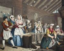 William Hogarth - A Harlot's Progress, Plate lV: Scene in Bridewell, illustration from 'Hogarth Restored: The Whole Works of the celebrated Willia