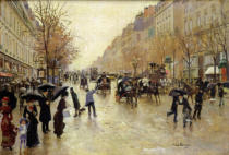 Jean Beraud - Boulevard Poissoniere in the Rain, c.1885