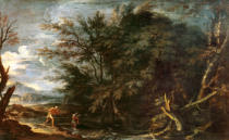 Salvator Rosa - Landscape with Mercury and the Dishonest Woodman, c.1650