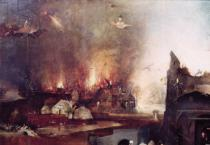 Hieronymus Bosch - Detail of the village on fire, from the cenral panel of the Temptation of St. Anthony