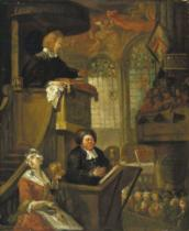 William Hogarth - The Sleeping Congregation, 1728