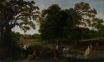 Esaias van de Velde - Landscape with a courtly procession before Abtspoel Castle, 1619