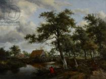 Meindert Hobbema - Wooded Landscape with Watermill, c.1665