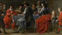 Master of the Processions - Gathering of Gamblers with Hurdy-Gurdy Player, c.1660