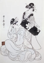 Kitagawa Utamaro - Two Female Figures (colour woodblock print, 4th block)
