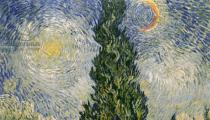 Vincent van Gogh - Detail of Road with Cypresses, 1890