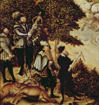 Lucas Cranach - Detail of Johann Friedrich the Magnanimous, Elector of Saxony and Emperor Charles V hunting deer near Hartenfels Castle, Torgau,