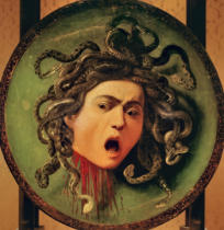 Michelangelo Merisi Caravaggio - Medusa, painted on a leather jousting shield, c.1596-98
