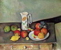 Paul Cézanne - Still life with milkjug and fruit, c.1886-90