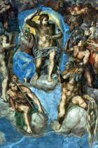 Michelangelo Buonarroti - Christ, detail from 'The Last Judgement', in the Sistine Chapel, 16th century with self-portrait of Michelangelo as Saint Bartho