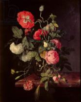 Jacob van Walscapelle - Flowers in a Glass Vase, 1667