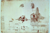 Leonardo da Vinci - Facsimile of Codex Atlanticus f.393v A Fin Spindle (original copy in the Biblioteca Ambosiana, Milan, 1503/4-07)