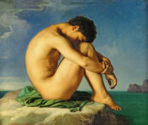 Hippolyte Flandrin - Naked Young Man Sitting by the Sea, 1836
