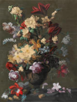 Mary Moser - Flowers in a Vase standing on a Ledge , late 18th century
