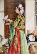 John Frederick Lewis - Girl with Two Caged Doves, Cairo, 1864