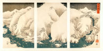 Ando or Utagawa Hiroshige - Snow storm in the mountains and rivers of Kiso,