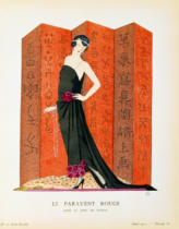 French School - Gazette du Bon Ton: No.10, Le Paravent Rouge, evening dress designed by Worth, 1921